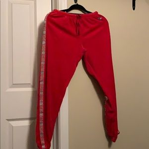Red velvet sweat pants!